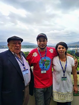 Waste picker delegates Alex Cardoso and Nohra Padilla with Luis Miguel Morales, of the Colombian trade union confederation. Photo: Lucia Fernandez.