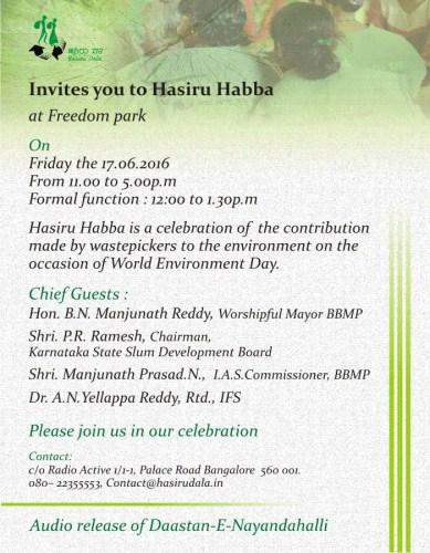 Hasiru Dala invitation to Hasiru Habba 2016
