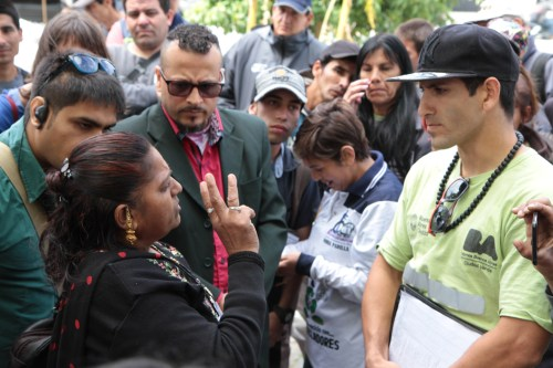 Koushlya Bai in Buenos Aires talking with FACCyR waste pickers.