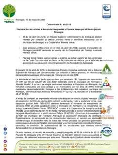 Comunicado Planeta Verde. Página 1.