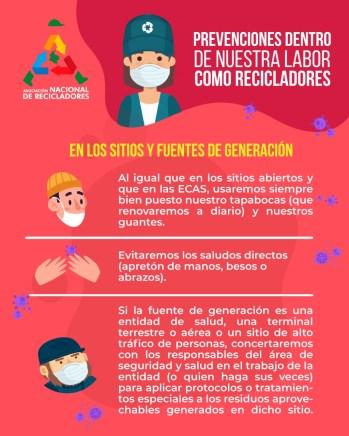 Prevención coronavirus COVID-19 en sitios fuente de generación. ANR Colombia.