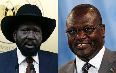 Salva Kiir (left), Riek Machar (right)