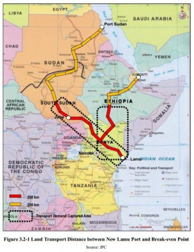 Land transport distance between New Lamu Port and Break-Even Point Figure 3.2-1 - JPC