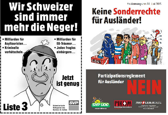 We Swiss are increasingly becoming n*ggers (St. Gallen general election poster 2003) - No special rights for foreigners! (2015)