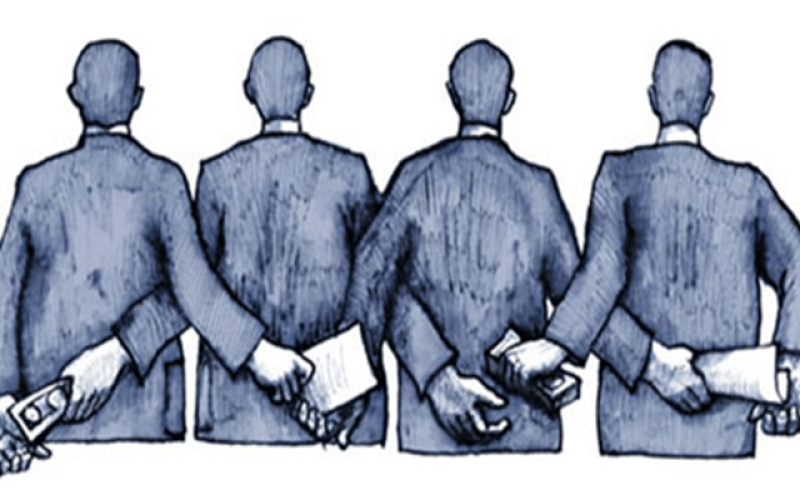 Cartoon of four men facing away. Behind their backs, each one is handing another papers in exchange for stacks of money.