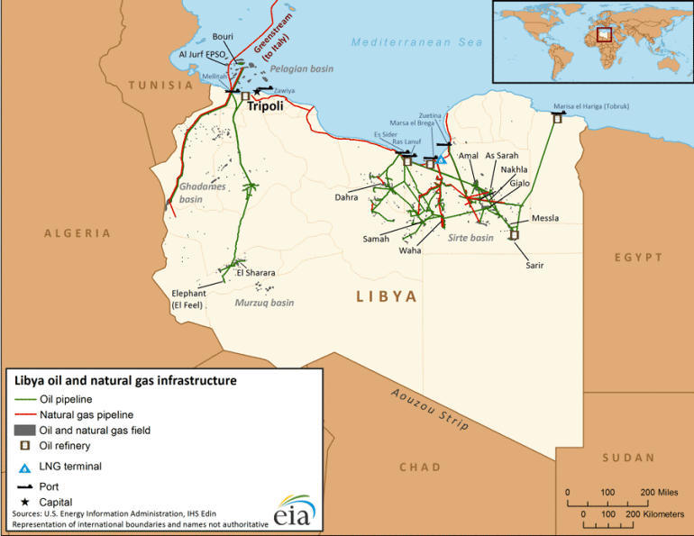 Map of Libya's oil and natural gas infrastructure (Source: U.S. Energy Information Administration)