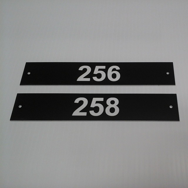 """Lasered Room # Signs 1.5""""x8"""" $7.00 Each + Setup $35"""
