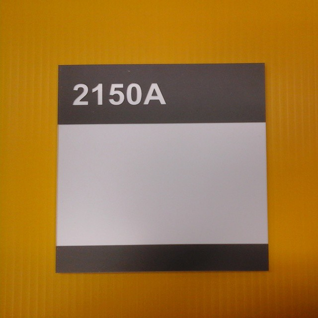 "Room # signs, 6"" x 6"" non-glare plexi & styrene"