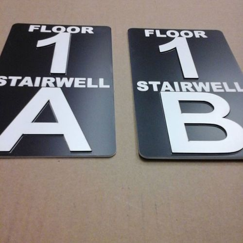 Stairwell signs, raised letters