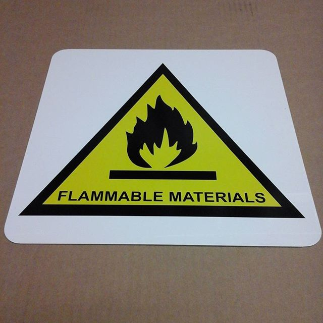 Flammable Warning sign, vinyl on aluminum