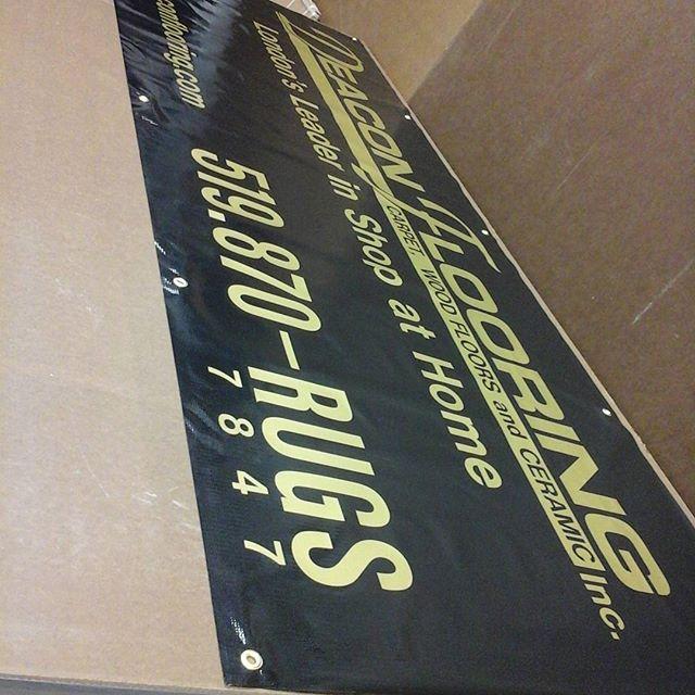 Banner with vinyl letters