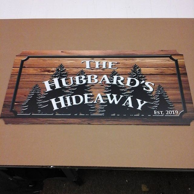 Imitation wood sign
