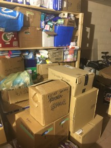 Our donations in the women's centre warehouse room