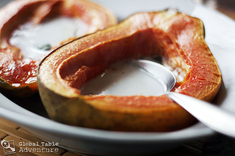 Baked papaya with sweet coconut cream global table adventure this is dessert so grab a spoon fill forumfinder Gallery