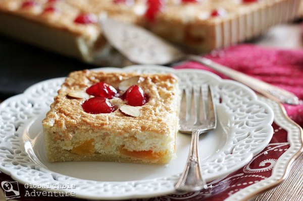 Recipe for Candied Cantaloupe & Cherry Almond Tart | Galapian