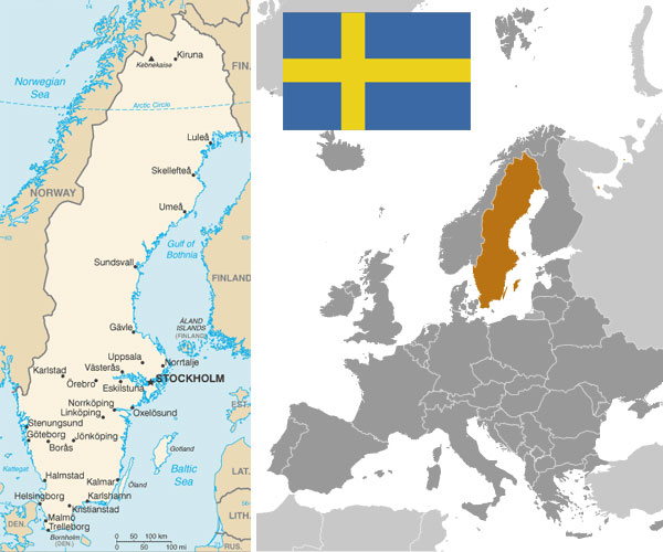 Swedish Maps and flag, courtesy of the CIA World Factbook.