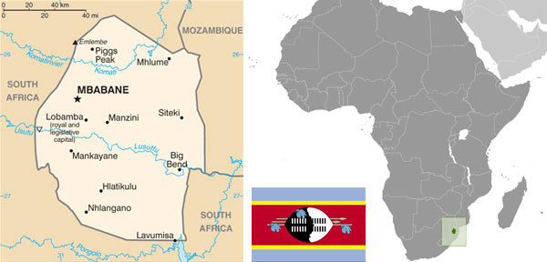 Swaziland maps & flag.