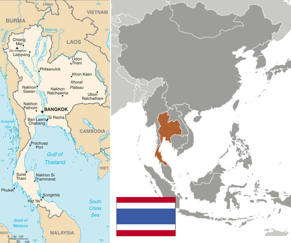 Maps and flag of Thailand courtesy of the CIA World Factbook.