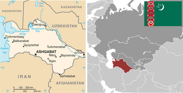 Maps and flag of Turkmenistan courtesy of the CIA World Factbook.
