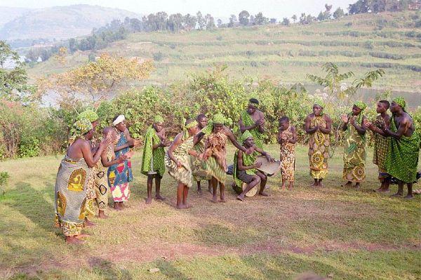 Batwa dancers at Buhoma in Uganda. Photo by Graham Racher.