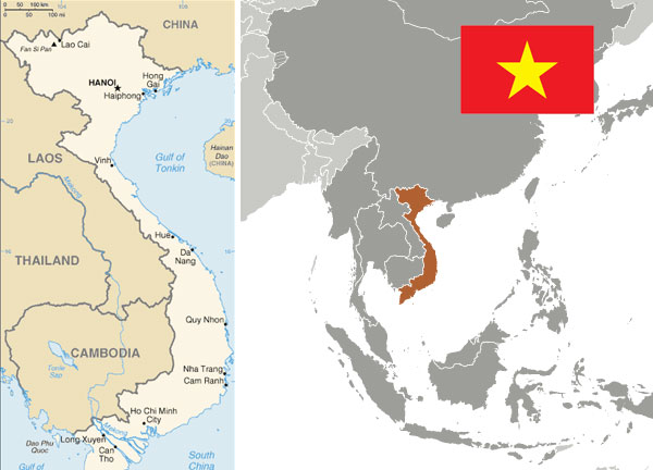 Maps and flag of Vietnam courtesy of the CIA World Factbook.