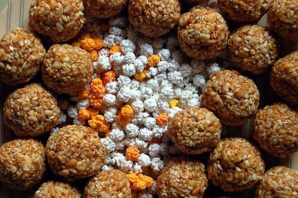 These 'tilguls', traditional marathi laddoos eaten on Makar Sankranti day. Photo by Saloni Desai.