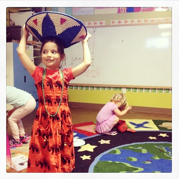 Balancing a basket on the head