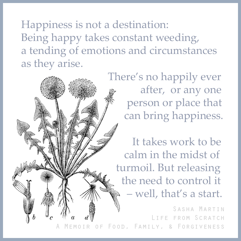 """Happiness is not a destination: Being happy takes constant weeding, a tending of emotions and circumstances as they arise. There's no happily ever after, or any one person or place that can bring happiness. It takes work to be calm in the midst of turmoil. But releasing the need to control it – well, that's a start."" - Excerpt of 'Life from Scratch: A Memoir of Food, Family, and Forgiveness'' by Sasha Martin."