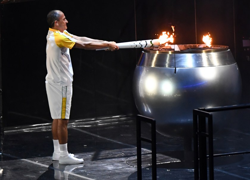 Vanderlei Cordeiro de Lima lights the Olympic cauldron during the Opening Ceremony of the 2016 Rio Olympic Games at Maracana Stadium in Rio de Janeiro, Brazil. U.S. Army photo by Tim Hipps, IMCOM Public Affairs.