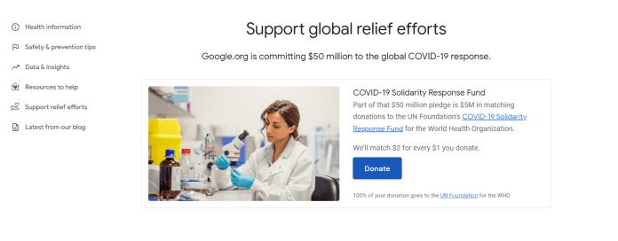 Google Coronavirus Donation