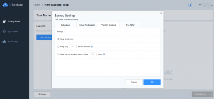 CBackup Settings Version Cleanup
