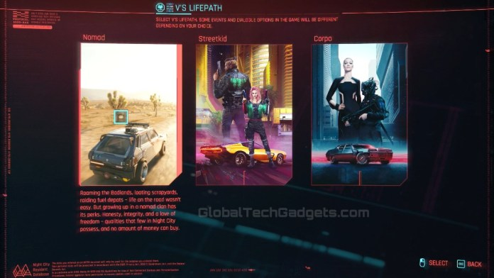 Cyberpunk 2077 Nomad, StreetKid, Corpo.
