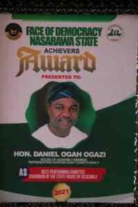Hon Daniel Ogazi, member representing Kokona East Constituency at the Nasarawa State House of Assembly