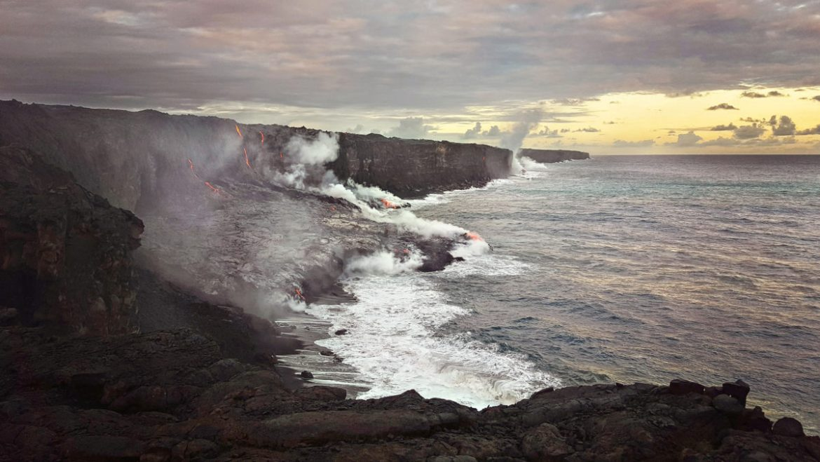 Once in a lifetime moment being able to witness the Kilauea Volcano lava entering the ocean at Kamokuna just before sunset.