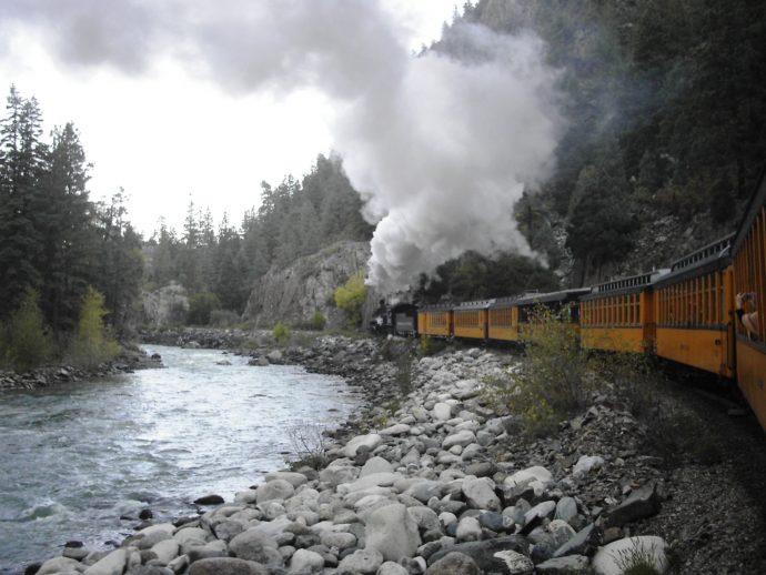 The Durango & Silverton Narrow Gauge train blows off some steam. Photo Credit: W.G. Dayton