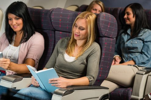 plane reading book