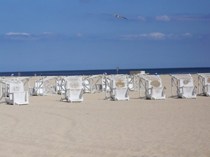 Chairs down on the beach in Ocean City, Maryland.