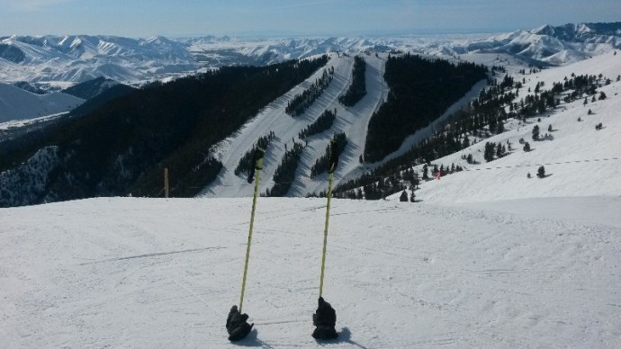 skis and gloves left atop one of Sun Valley, Idaho's most intense slopes.