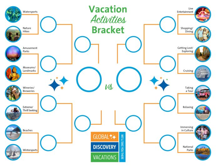 Global Discovery Vacations activities bracket