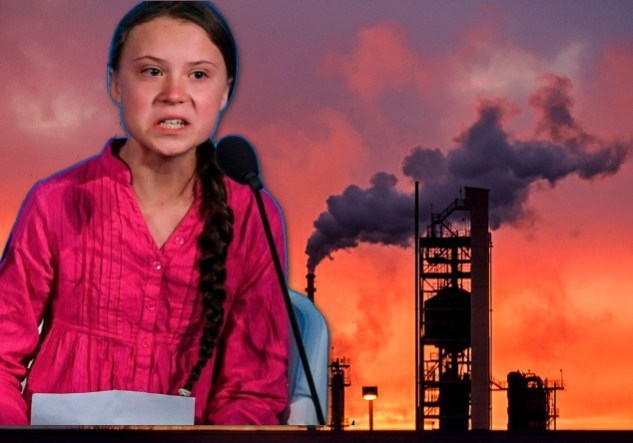 Greta Thunberg with Exxon plant in the background