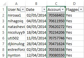 Some of the 8700 suspected LiveJournal trolls shown in Excel.