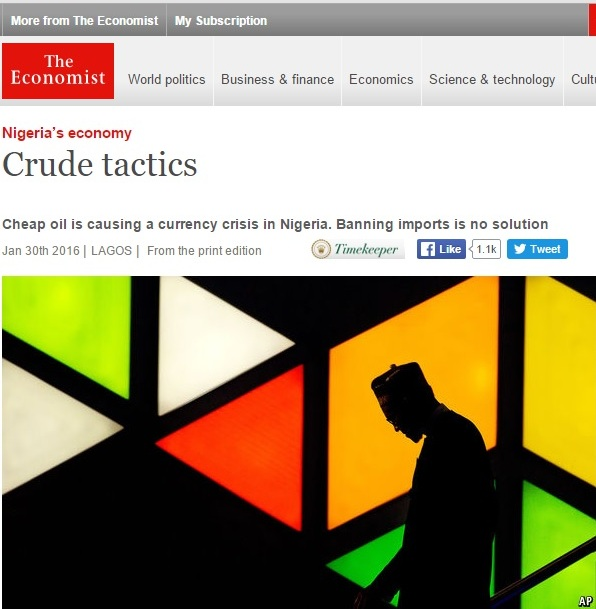 Capture d'écran de l'édition en ligne de l'article de The Economist qui a fait une observation désobligeante à l'ex-président du Nigeria