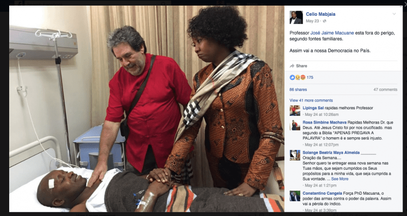 Screen Shot from Celio Mabjaia's Facebook page of Jaime Macuane hospitalized at Maputo's Hospital Privado after being attacked.