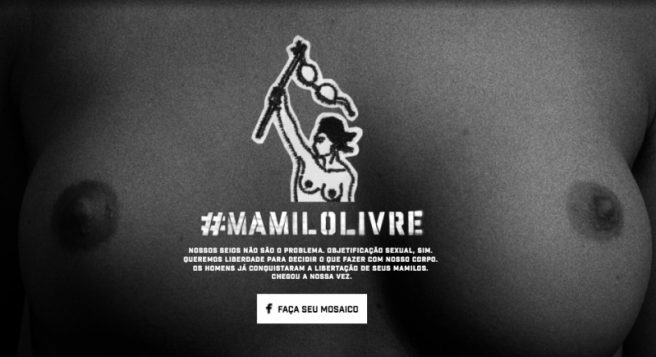 Screen capture from Mamilo Livre (Free the Nipple) homepage.