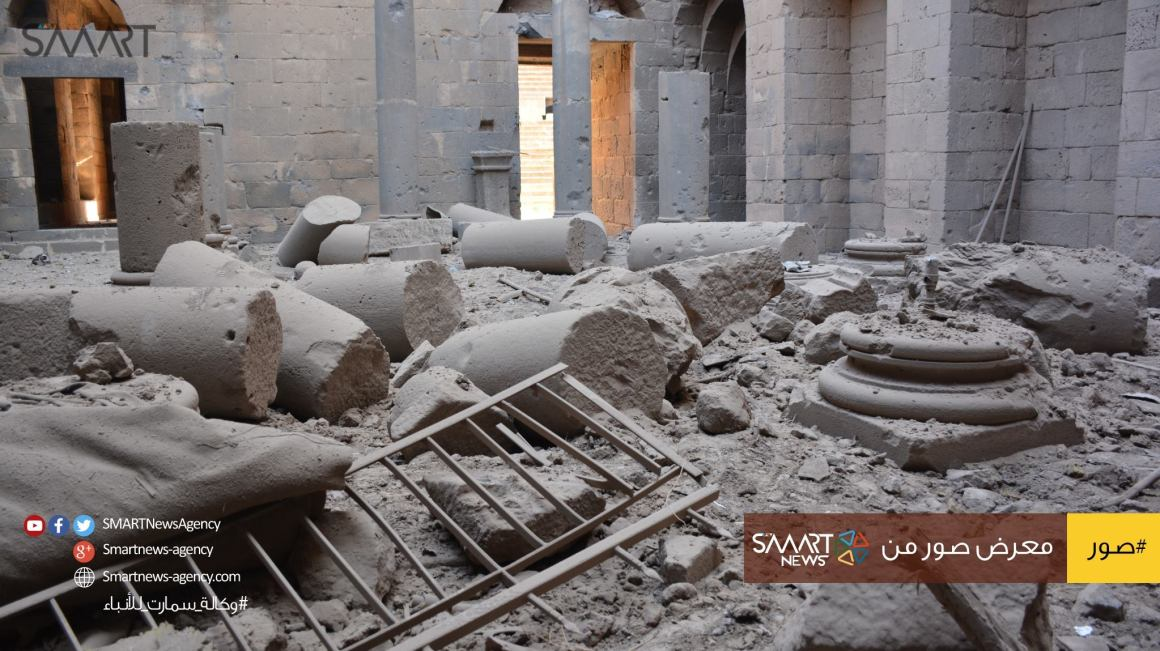 Image from SMART News Agency showing significant damage to pillars inside the castle. Source: Facebook.