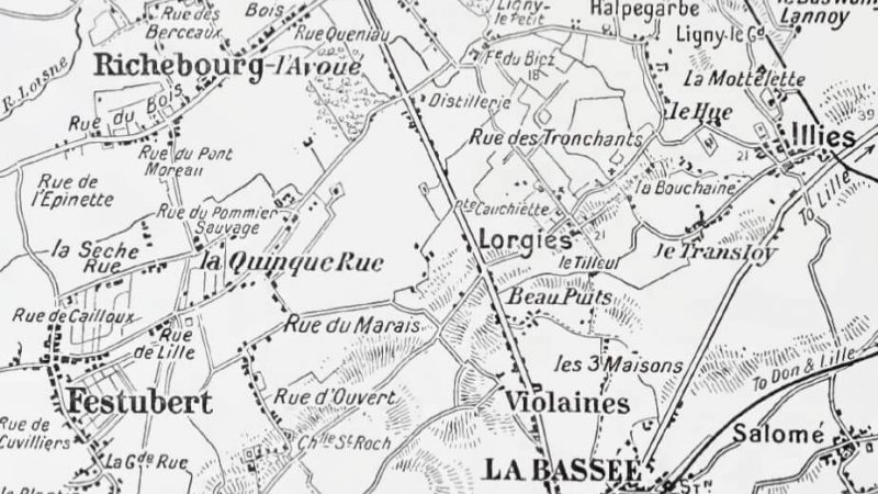 Contemporary map of La Bassée in France, which was captured by the Germans during 1914. Via Nepali Times