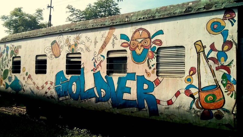 Students painted graffiti on a shuttle train in Chittagong, Bangladesh. Image by Zaman Muhammad via Bangladesh Railway Fan Group. Used with permission.