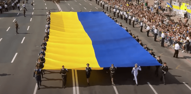 Military parade in Kyiv in honor of Ukraine's 30th independence anniversary, August 24, 2021. Screenshot from YouTube.