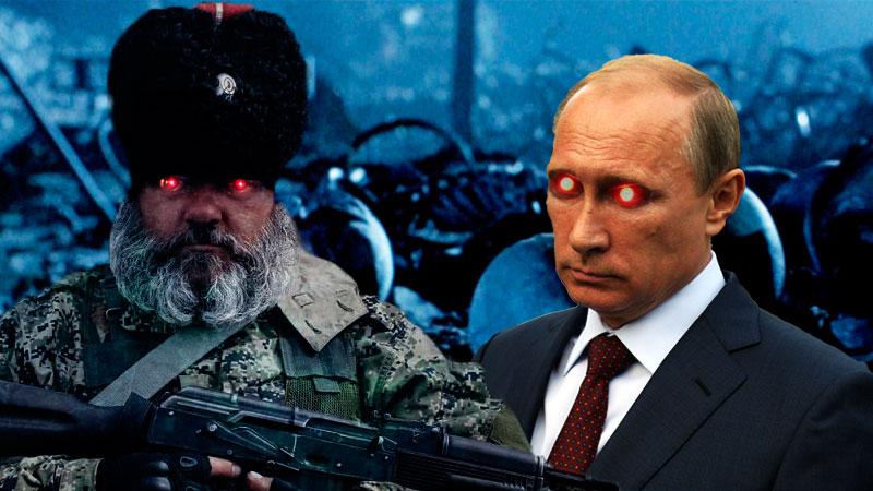 Donbas rebel and Vladimir Putin. Images mixed by Kevin Rothrock.