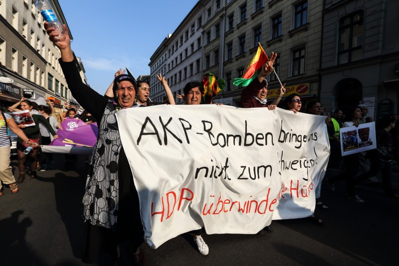 Kurds march in Berlin against violence in Turkey's election campaign 6 June 2015 by Thorsten Strasas. Demotix ID: 7791816